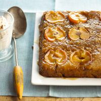 Apple Upside-Down Cake:   So I made this tonight using two bread pans and doubled the recipe.  This is SO yummy!  I screwed the recipe up by using the butter and brown sugar at the top of the recipe as the sugar and butter that is called for in the cake later on, so I'm sure my results aren't typical.  But R raved and had two big slices :)  Adding this one to the recipe book.