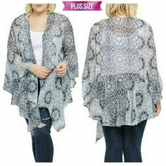 Medallion Print Cardigan Beautiful sheer blue medallion print cardigan, waterfall front, bell sleeves. Gorgeous spring & summer coverup piece. Pair with jeans, capris or slacks. Size: 2x/3x available. BUNDLE & SAVE 15%, OFFERS WELCOMED Tops