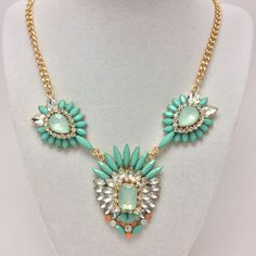 Turquoise Rhinestone Gold Fan Statement Necklace
