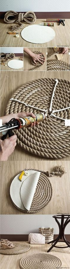 DIY Rope rug. Use the same idea to create rope place mats for a nautical themed tablescape. DIY Ideas, Easy DIY