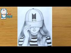 How to draw a girl with BTS Cap for beginners Pencil Drawings For Beginners, Pencil Drawings Of Girls, Girl Drawing Sketches, Bff Drawings, Cute Girl Drawing, Drawings Of Friends, Cool Art Drawings, Girl Sketch, Beautiful Drawings