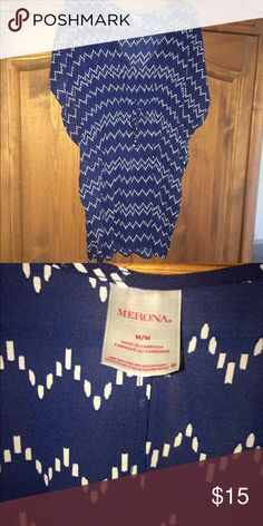 🌴⛵️ MERONA BLUE SWIM SUIT COVER UP EUC!  BLUE AND WHITE STRIPED COVER UP OR TUNIC RUNS LARGE FITS UP TO 14 EASY! Merona Swim Coverups