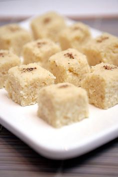 Coconut burfi is one of the easiest of Indian sweets to make. People usually make it during Diwali or sometimes even during Gokulashtami.