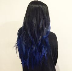 Coole haarfarben Trendy Nägel blau schwarz lange Haare 22 Ideen The Truth About Hair Loss Scared of Blue Hair Balayage, Blue Hair Highlights, Black Hair Ombre, Dark Blue Hair, Long Black Hair, Ombre Hair Color, Hair Color For Black Hair, Cool Hair Color, Balayage Color