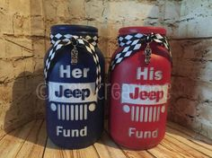 Your place to buy and sell all things handmade Mason Jar Bank, Jeep Gear, Blue Jeep, Jeep Decals, Painted Mason Jars, Patriotic Shirts, Mason Jar Crafts, Jeep Life, Handmade Decorations