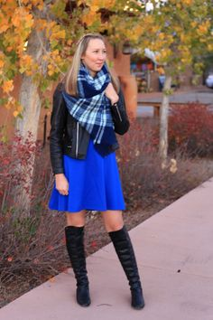 fall winter outfit ideas how to style wear leather jacket plaid scarf