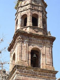 A view of the monastery complex of San Francisco [chapel/bell tower detail] in Tzintzuntzan, from the Friends of Architecture Michoacan tour, 2006 #friendsofarchitecture #architecture #mexico