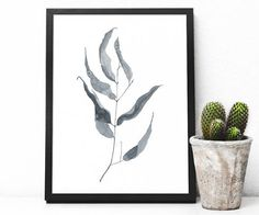 Wall Art Print, printable poster, instant download, a branch of eucalyptus, watercolor painting, botanical, black and white, herbarium, leaf by not2green on Etsy