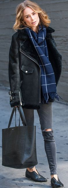 Anine's World Black Shearling Jacket Navy Check Scarf Black Ripped Jeans Black Flats Fall Inspo