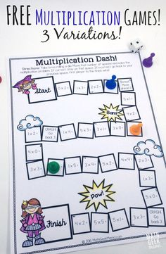 This adorable set of printable multiplication games is so easy to use-just print and play! And I love that there are different versions to help kids focus on specific multiplication skills! Easy Math Games, Printable Math Games, Free Math Games, Fun Math, Free Printable, Math Multiplication Games, Kindergarten Math Games, Math Activities, Math Fractions