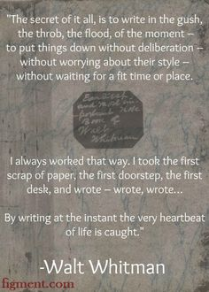 Writing inspiration #quote from Walt Whitman and Figment