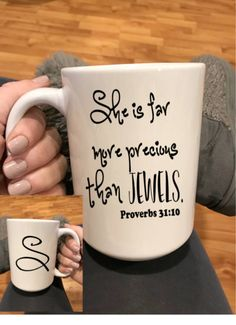 Proverbs She is Far More Precious than Jewels coffee cup mug, Proverbs 31 woman gift, Personalized Coffee Mug, Christian friend gift by ArtsyWallsAndMore on Etsy Christmas Tea Party, Christmas Mugs, Christmas Crafts For Kids, Christmas Presents, Diy Mugs, Diy Sharpie Mug, Personalized Coffee Mugs, Jw Gifts, Watermelon Art
