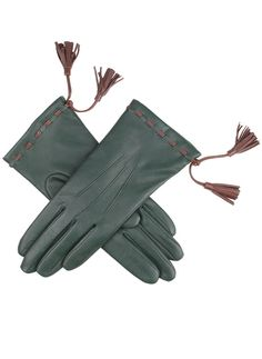 7-9076 - Evergreen/Chestnut. Women's cashmere lined hairsheep leather gloves with tassel detail.