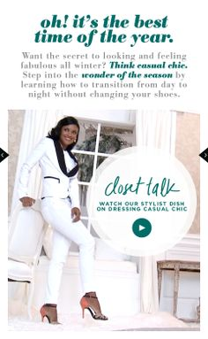 The mobile layout of the Holidaydream 2013 closet. This page linked to a behind the scenes video interview with our stylist.