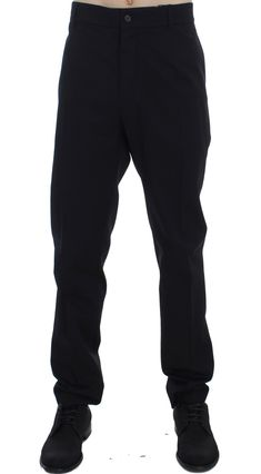 On Sale € ? | #DolceGabbana #JeansPants Black Wool Cotton Stretch Casual Pants | #Black  Dolce & Gabbana Gorgeous brand new with tags, 100% Authentic DOLCE & GABBANA black cotton wool stretch casual pants. Model: Casual Color: Black Two front and two back pockets Zipper fly closure Logo details Made in Italy Material: 39% Cotton, 3% Elastane, 58% Wool   Brands Vice