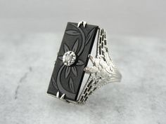 Edwardian / Art Deco Mourning Ring with Carved Onyx and Diamond Inlay  0P9F0E-P