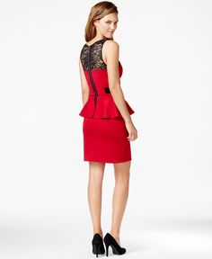 kensie Sleeveless Lace-Inset Peplum Dress - Dresses - Women - Macy's