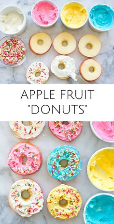 Easy Apple Fruit Donuts. Yummy healthy kid snack or treat with less sugar than regular donuts! These would make fun treats for kids parties too.