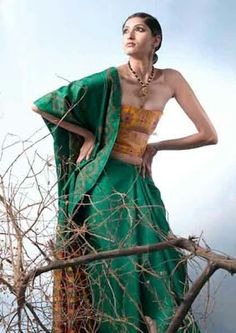 Orange green saree