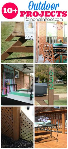 These 10+ outdoor projects include a DIY picnic table, an easy mailbox and lattice makeover, a colorful porch makeover and more!
