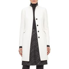 Akris punto Wool Coat with Leather Trim ($1,590) ❤ liked on Polyvore featuring outerwear, coats, single breasted coat, woolen coat, single breasted wool coat, white woolen coat and leather trim coat