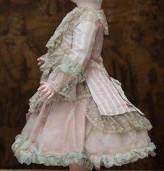 "Wonderful Antique silk & gauze dress for Jumeau Bru Steiner E.J. Eden bebe doll about 22"""