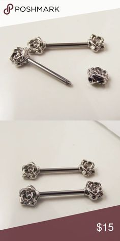 Rose Nipple Bars Super adorable silver rose nipple bars, 14g (standard) surgical steel, never been worn BRAND NEW. Let me know if you have any questions!  BodyArts Accessories