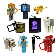 10 PCS Figures Random Minecraft Series 2 Hangers Keyring Keychain Toy