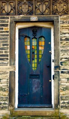 Heart shaped windows in door - Great Horton, Bradford, UK
