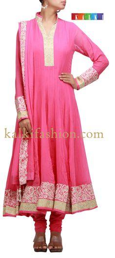 Buy it now http://www.kalkifashion.com/pink-anarkali-dress-with-resham-work.html Pink anarkali dress with resham work