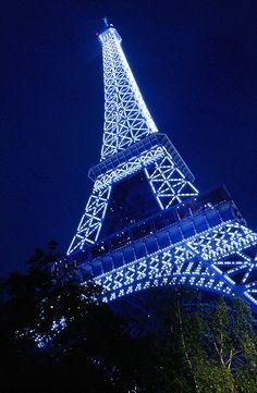 Blue Eiffel Tower, Paris.