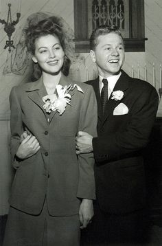 In 1942, actor and entertainer Mickey Rooney married first wife and future Hollywood starlet Ava Gardner, but the two were divorced in 1943, well before she became a star in her own right.  Ava went on to marry Artie Shaw (1945-1946) and Frank Sinatra (1951-1957). Mickey went on to marry and divorce six more times. He married wife #8, singer Jan Chamberlin in 1978 (in May 2013 they separated).