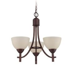 Hartford Old Bronze Three-Light Chandelier with Frosted White Glass