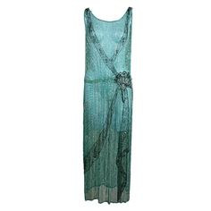 1920s Turquoise Chiffon Beaded Flapper Dress | See more vintage Cocktail Dresses at https://www.1stdibs.com/fashion/clothing/evening-dresses/cocktail-dresses in 1stdibs