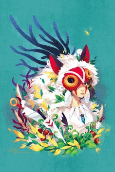 I love this girls work Princess Mononoke ghibli miyazaki print http://zetallis.storenvy.com/collections/100776-posters/products/14103048-princess-mononoke