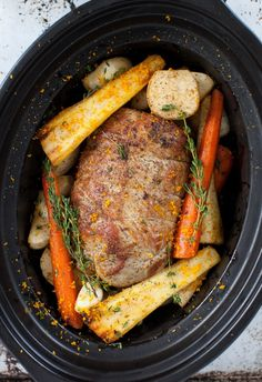 Veal Pot Roast with Root Vegetables in Slow Cooker.