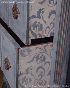 Vintage Shabby Chic Furniture Makeover with Leaf and Vine Furniture Stencils - Royal Design Studio