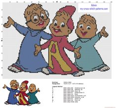 Alvin and the Chipmunks old cartoon free cross stitch pattern