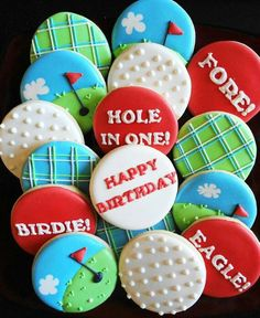 Cute golf themed decorated cookies! Find more golf ideas for your birthday at #lorisgolfshoppe