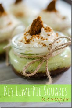 Mason Jar dessert recipe: Key Lime Pie squares in a jar