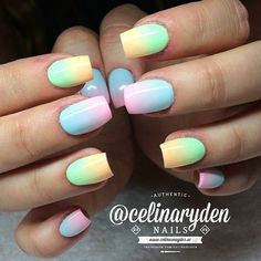 Clean looking gradient nail art with color combinations of green, yellow, blue and pink.