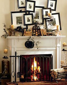 halloween mantle--love the wacky pictures
