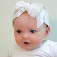HU White Headband for Babies. Organic Cotton White Baby's Headband. White Baby Bow Head Wrap & Toddler Bandana. Kundalini Baby Gift.