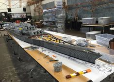 Looking inside: Mr Siskin said he believes 'it's the longest ship of any kind built out of Lego in the world' - but admits he 'could be wrong'