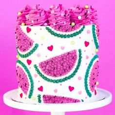 Pretty much lovin everything about this cake! Im so excited for summer cake designs! Pretty Cakes, Cute Cakes, Beautiful Cakes, Amazing Cakes, Crazy Cakes, Mini Cakes, Cupcake Cakes, Summer Cakes, Dream Cake