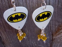 Batman Guitar Pick Earrings with Yellow Crystal by ItsYourPick