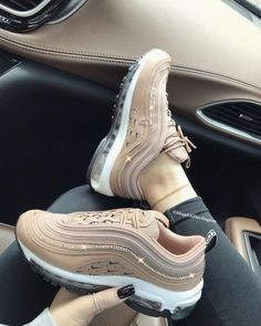 Swarovski Crystals Custom Nike Air Max 97 Desert Dust Sneakers Embellished with Rose Gold Swarovski - Products - Shoes Nike Air Max, Nike Air Shoes, Cool Nike Shoes, Nike Shoes Outfits, Cute Sneakers, Shoes Sneakers, Platform Sneakers, Shoes Men, Women's Shoes