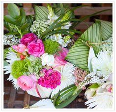 bridal shower flower arrangement - straight off a lilly pulitzer dress