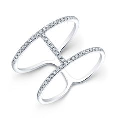 Think slinky, and this hot little number will come to mind! Just under a 1/4 carat of diamonds set in 14K white gold outline the sexiest part of your finger! Goldex Fine Jewelry ~ (323) 726-7181.