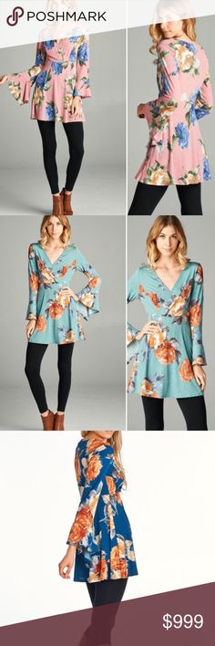 """🌺S-L Spring preview floral bell sleeve top Gorgeous floral bell sleeve top. Features a flattering empire waist and fit and flare style. Material feels amazing, slinky and flowy feel. 95/5 Polyester Spandex hand wash. Made in USA! This listing is for the pink. Mint also available. Small bust is 17"""" and length is 32"""" medium bust 18"""" and large 19"""" and has 2"""" of stretch! Gorgeous top so versatile! No trades Tops"""